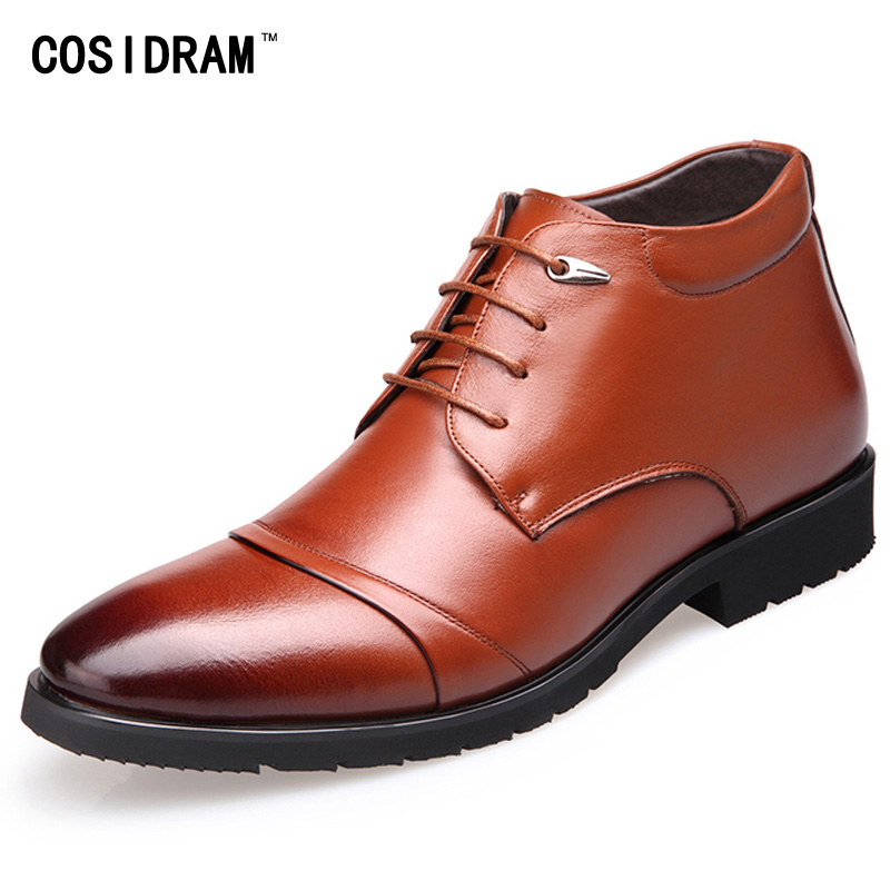 2016 Winter Genuine Leather Men Boots Lace-Up Plus...