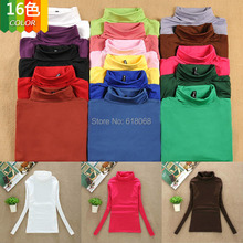 Big SALE!!2015 New Arrival Women's Clothing T-shirt in Autumn/Winter Multicolor Turtleneck Long Sleeve Tops Warm Basic Shirt