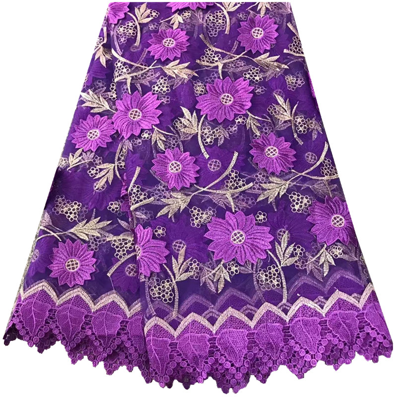 Purple Latest Fashion Net French Lace Material High French Net African Lace Fabric Nigerian Wedding African Lace 894