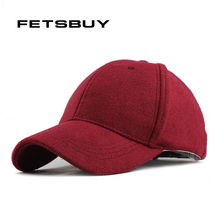 FETSBUY Wholesale Warm Winter Fedora Baseball Cap Men Brand Snapback Black Solid Bone Casquette Baseball Mens Winter Hats Gorras(China)