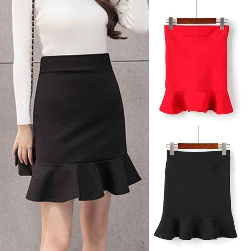 Faldas de mujer moda Sexy Paquete de cadera faldas de cintura alta volante  sirena falda vaina b46b68891edd