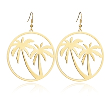 MissCyCy Fashion Gold Color Coconut Tree Drop Earrings Women Punk Style Round Big Earrings for Girls Jewelry Gift