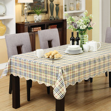 PVC Table Cloth Plastic Flannel Waterproof Oilproof Dustproof Dining Tableclothes Plaid Printed Table Covers V30