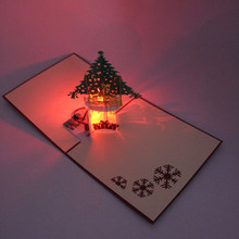 Christmas Tree DIY 3D Greeting Cards With LED Christmas Music Origami Pop Up Postcards Paper Craft Handmade Gift Souvenir