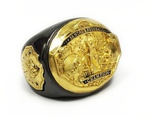 Fantasy Football Super Bowl Championship Ring Spike Souvenir Styled Size 9 Black and Gold(China)