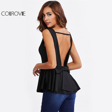 COLROVIE Cut Out Bow Back Peplum Tank Top Sexy Black Women O Neck Sleeveless Summer Tops 2017 Solid Ruffle Hem Slim Elegant Tank(China)