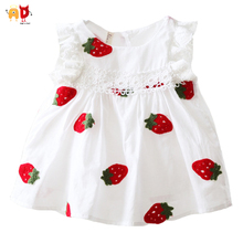 AD Embroidered Strawberry Floral Baby Girls Dress for Summer Baby Clothing Clothes