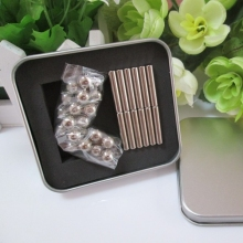 Free shipping magnetic rods 36pcs D4mm x L23mm magnetic bars  + 27pcs D8mm steel balls with metal box