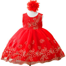 2017 girls dress baby girl flower embroidery princess dress Girl's birthday party dress children Christmas dress clothes