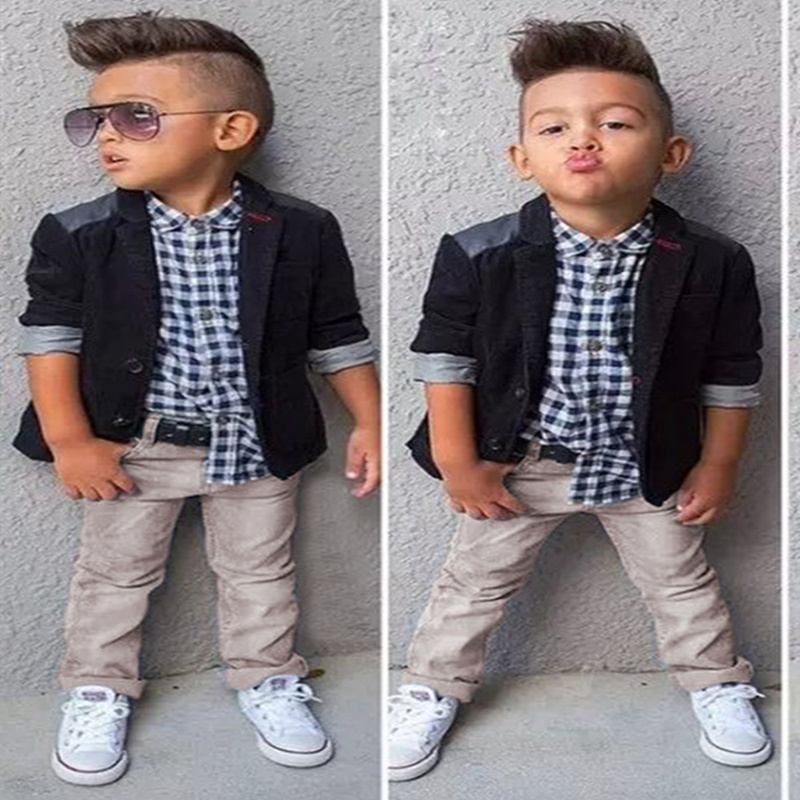 2015 Brand new children clothing set European style baby boy set Long sleeve Plaid shirt+Suit jacket+Jeans toddler boy clothing<br><br>Aliexpress