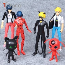 TOFOCO 6PCS/Set Miraculous Ladybug Dolls Toy Tales of Ladybug & Cat Noir Model Toy Doll Lady Bug Adrien Marinette Plast