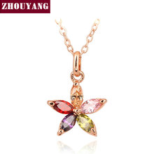 ZYN245 Color Flower Rose Gold Color Pendant Necklace Jewelry Austrian Crystal Wholesale(China)