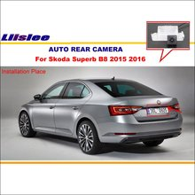 Car Rear View Camera Camera For Skoda Superb B8 2015 2016 / Backup Parking / HD CCD Night Vision /  License Plate Light OEM