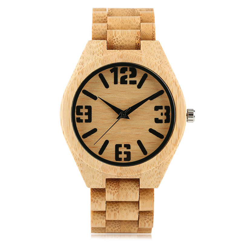 2017 New Arrival Simple Mens Quartz Wristwatch Full Hand-made Wooden Bamboo Watchband Numerals Dial Luxury Watch Gift for Male<br>