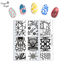 Finger angel 1PCS New Design 6x6cm Stamping Plates DIY Nail Art Stamp Stamping Template Image Plate Stencil Nails Tools  #WJ022