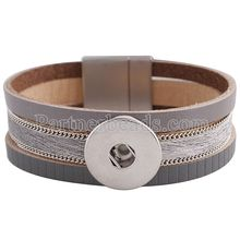 Partnerbeads new fashion snap bracelets 7.8inch gray and pink real leather bracelets fit 18/20MM snaps button jewelry KC0040