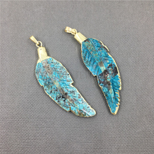 MY0984 Carved Feather Shape Ocean Jaspers Pendant Charm,Blue Leaf Gold Bezel Pendant