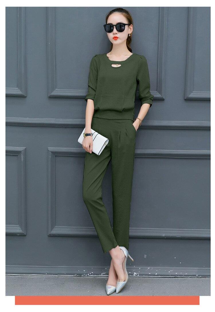 Female 2018 Elegant Pants Ol Style Work Suits 2 Piece Set Women Two Piece Set Blouses Pencil Pants Pink Brown Green
