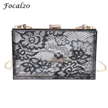 Focal20 Fashion Acrylic Lace Women Clutch Bag Evening Bag With Chain Transparent Square Small Female Shoulder Bag Messenger Bag(China)