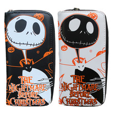 PU leather Men & Women Wallets 19*10*2cm Ladies Clutch Bags The Nightmare Before Christmas Purses Jack Skull Long Female Wallet