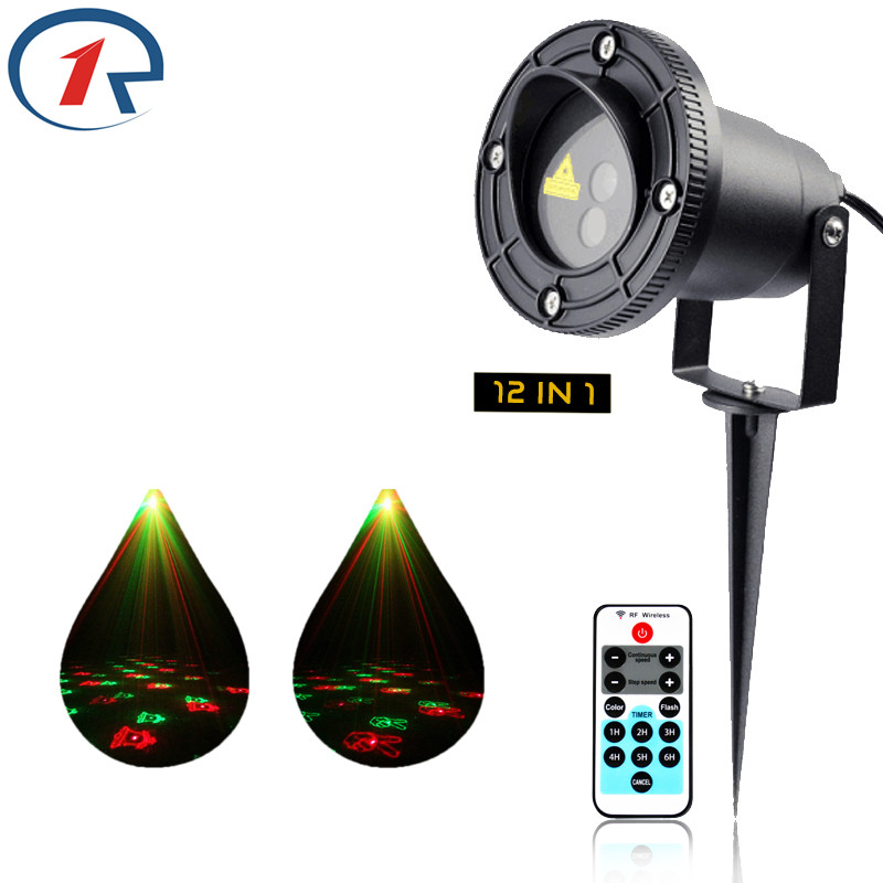 ZjRight laser light Remote control Red Green 12 Xmas patterns Outdoor Waterproof projection lamp Bar DJ party stage floor lights<br>