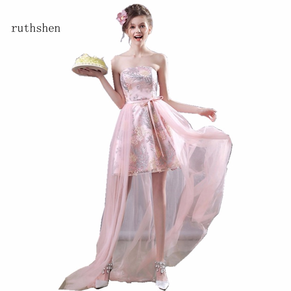 ruthshen Fashion Cheap Short High Low Cocktail Dresses Embroidery Light Pink Vestidos Coctel 2018 Special Party Dresses