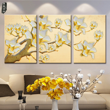 Arte de la pared Impresiones de la Lona del Estilo Chino de Flores y Pájaros de Aceite pintura Modular Home Decor Imagen for Living Room Pared No marco