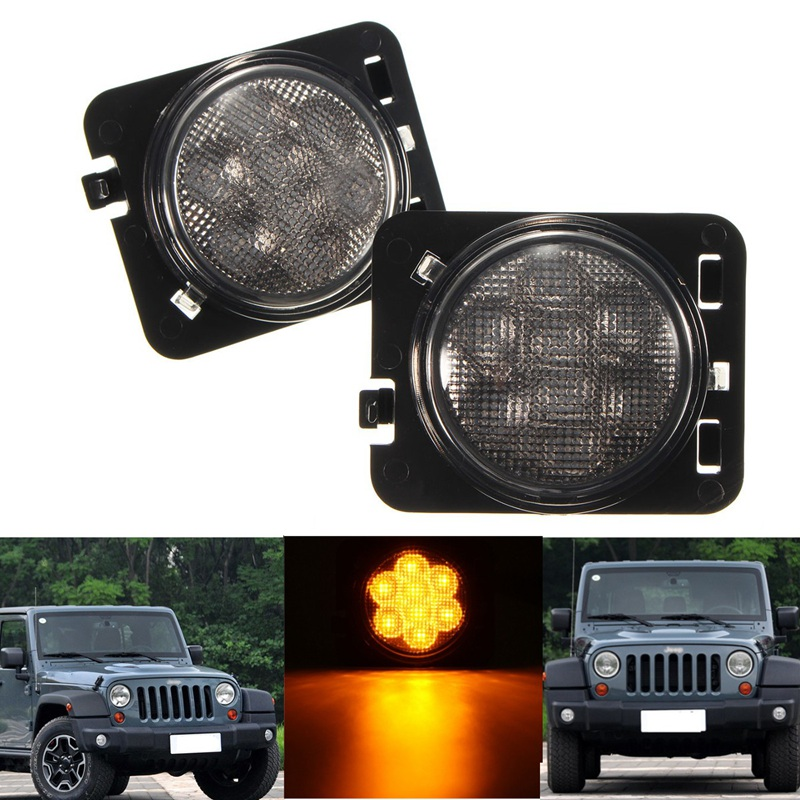 Pair 8 SMD LED Light Front Flares Turn Signal Light For Jeep/Wrangler/JK 2007~2015 LED Side Marker Lamp<br><br>Aliexpress