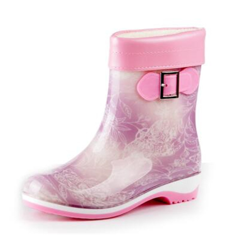 Buckle In-Tube Women Rain Boots New Fashion Female Warm Water Lady Shoes Antiskid Rubber Galoshes Botas Mujer size 36-41<br><br>Aliexpress