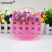 Hello Kitty Storage Box Case Holder Clear Pink color Plastic Adjustable Jewelry Necklace Pin Craft Organizer New trendy FA(China)