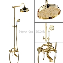 Wall Mounted Gold Color Brass Luxury Rain Shower Faucet Set Bathroom Dual Ceramic Handles Bathtub Mixer Tap + Hand Spray Wgf628(China)