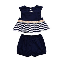 New Summer Fashion Newborn Baby Girl Navy Dress Backless Striped Swing Top Short Short Pant Outfit 2Pcs Trendy Set Clothe 0-18M(China)