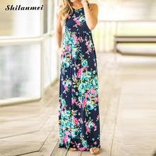 Buy Summer Floral Print Beach Maxi Dress Women Sexy Shoulder Boho Long Dress Plus Size Casual Party Dresses Vestidos for $12.77 in AliExpress store