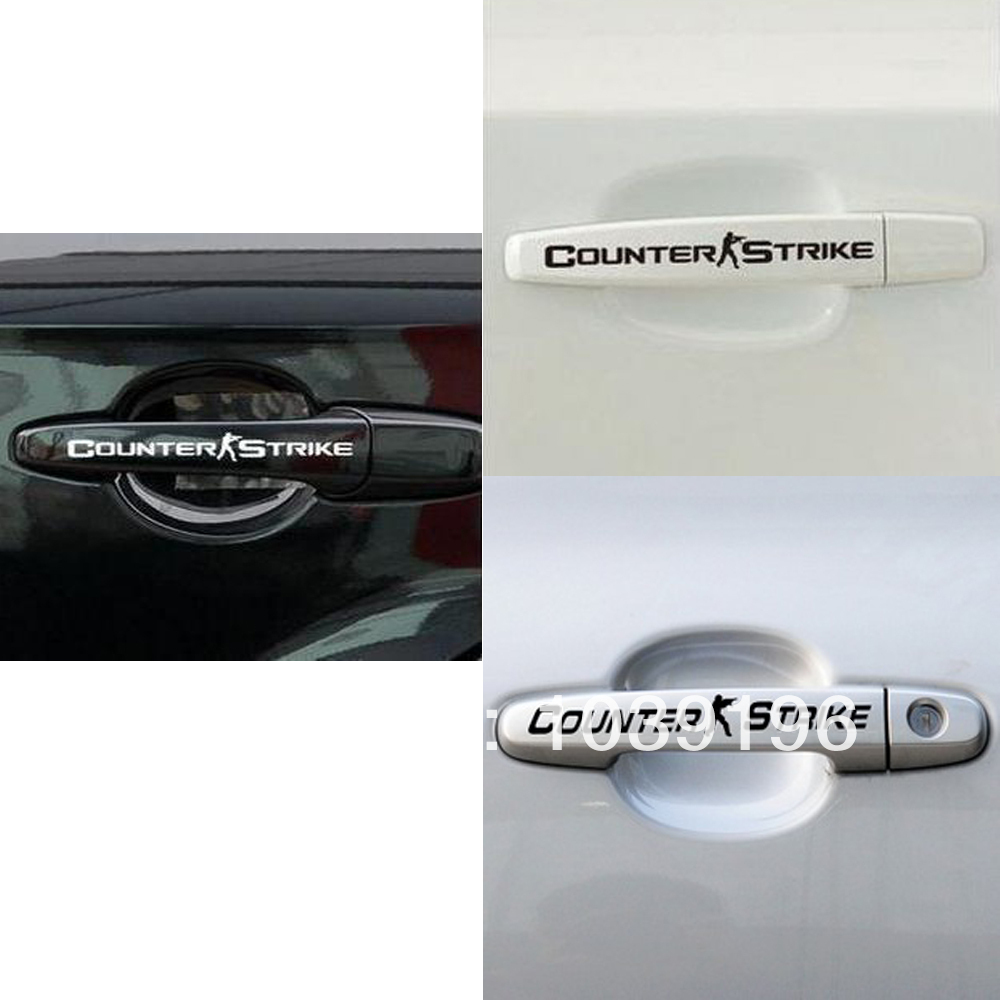 4 x CS Counter Strike Car Stickers Car Door Handle Decal Black for Tesla Toyota Ford Chevy Volkswagen Honda Hyundai Kia Lada(China (Mainland))
