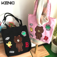 KEENICI Korea Ulzzang Lovely Childlike Cartoon Embroidery Canvas Shoulder Bag Soft Sister Canvas Bags Female Brown Bear Totes