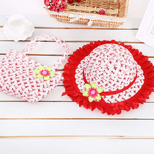 1 Set Cute Summer Beach Straw Hat Flowers Sun Shade Hats Summer Girls Kids Available Beach Fluid Systems Caps Handbags Suit 2017