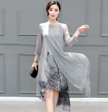 Sexy Summer Autumn Women Cotton Linen Long Dresses Irregular Folk Art Ink Print Casual Plus Size Slim Dress Retro Printing Gray(China)