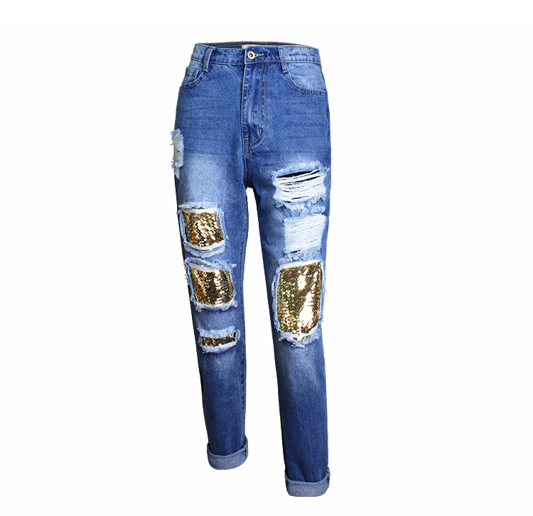 2018 Casual European Station Europe and the United States Style BF Wind Women Sequin Straight Hole Large jeans New Loose pants (8)
