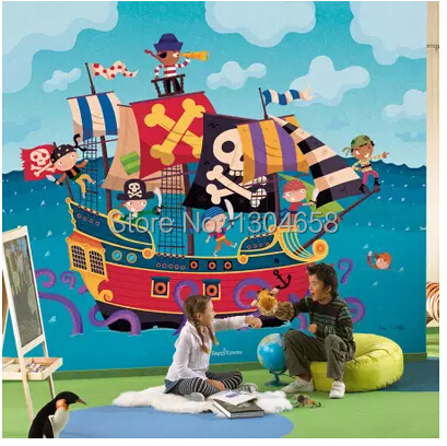 Custom large pirate king cartoon background wallpaper children room sitting room 3 d mural wallpaper relief grain material <br>