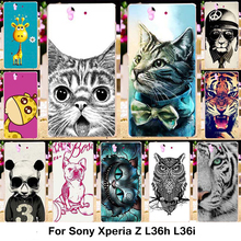 Silicone Phone Cases Covers Sony Xperia Z L36h C6602 5.0 inch C6603 L36i Case TPU Plastic Cover Cute Animal Cat Pattern Bag - Blue Mill 3C Products Online Super Market store