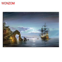 Frameless Painting By Numbers On Canvas Sea Miracle Abstract Picture Landscape Coloring By Numbers Unique Gift