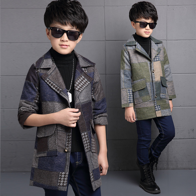 Toddler Boys Winter Long Sleeve Thickening Solid Color Plaid Decor Korean Turn Down Collar Green/Coffee Color Cardigan Coats<br><br>Aliexpress