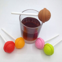 1pcs Cute Creative Silicone Lollipop Shape Tea Infuser  Puer Tea Strainer Loose-Leaf Spice Flower Herbal Tea Filter Funny Gift