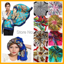 Free shipping ! hot sale satin square big silk scarf,90*90cm, beautiful color flowers  for women ST101-120  SC0271