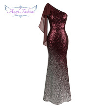Angel-fashions Formal Dresses Contrast Color Gradient Sequin Mermaid Evening Dresses 286(China)