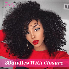 JARIN Peruvian Kinky Curly Hair Weave 3 Bundles With Closure Human Hair Weaving With 4*4 Lace Closure Top Remy Peruvian Hair (China)