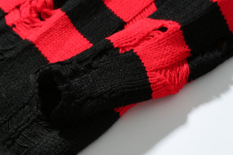 Ripped Stripe Knit Sweaters 4