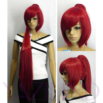 Bob Long Straight Fire Red Ponytail Hair Full Cosplay Role Play Japanese Wig<br><br>Aliexpress
