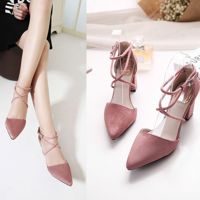 2017 New High Heel Shoes Pointed Toe Cross straps 3 Color Fashion Elegant Chunky Heel Women Pumps HSB10<br><br>Aliexpress