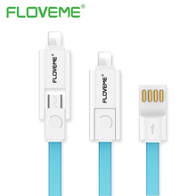 FLOVEME USB Cable For iPhone 7 7 Plus 5 6 6S 2 in 1 Combo Micro USB Charger Fast Charging Data Cable For Samsung Xiaomi LG Sony